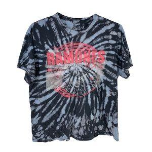 Ramones Tye Dyed Black and Blue Band Tee Size XL